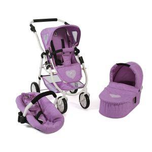 Poussette pour poupées, 3 en 1 EMOTION - Mélange violet