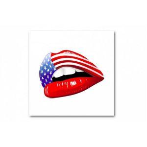 Tableau Pop Bouche Rouge Américaine Lady 50X50 cm ISAAC
