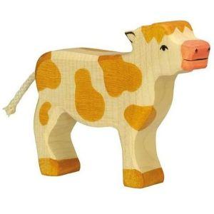 Figurine en bois Holztiger : Animaux de la Ferme : Veau marron