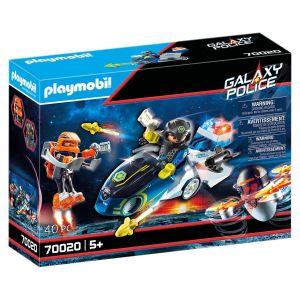 Moto et policier de l'espace