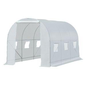 Serre de jardin tunnel surface sol 7 m² blanc