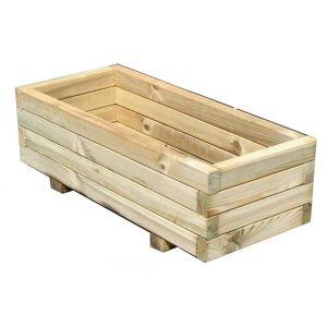 Jardinière rectangulaire en bois traité 72x31cm, Primo