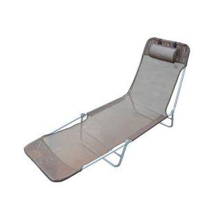 Transat chaise longue inclinable pliable chocolat