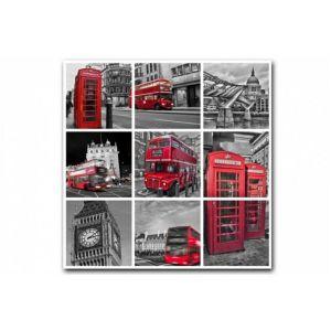 Tableau British London City Patchwork 80X80 cm AMBROISE