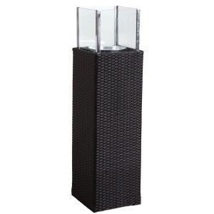 Photophore d'extérieur noir en résine et verre Hauteur 115 cm
