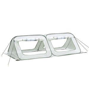 Serre à tomates pop-up 4 portes + 4 fenêtres zippées enroulables sac transport PE blanc vert