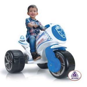 INJUSA La moto de police avec sirène et lumière bleue porteur bébé