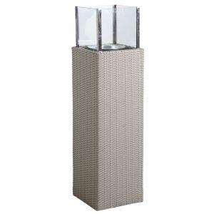 Photophore d'extérieur gris en résine et verre Hauteur 115 cm
