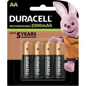 Pile rechargeable Duracell Rechargeable, lot de 4 piles rechargeables AA 2500mAh