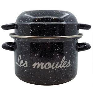 Marmite à moules 24cm noir moucheté - 14735244