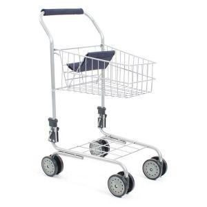 Chariot de supermarché métallique.