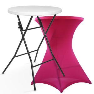 Table haute mange debout + housse rose