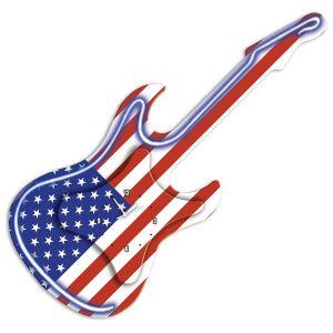 Pendule en forme guitare néon Etats-Unis
