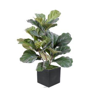 Ficus Lyrata Artificiel troncs PE en pot tres chic et original H 60 cm Vert - dimhaut: H 60 cm - couleur: Vert