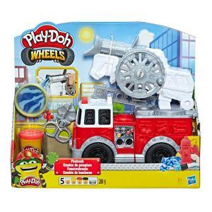 Play-doh wheels - camion de pompiers avec 5couleurs de pâte atoxique, dont un pot de pâte play-doh imitation eau