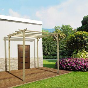 Pergola de terrasse en bois traité, Cerise