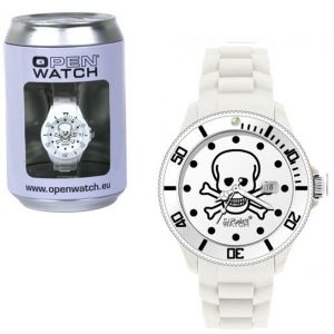 Montre Open Watch médium Skull blanche