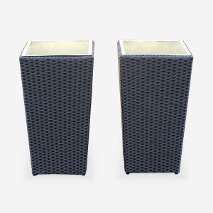 Lot de 2 pots de fleurs, cache pot en résine tressée e, vases de 60cm