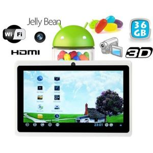 Tablette tactile Android 4.1 Jelly Bean 7 pouces 36 Go Blanc