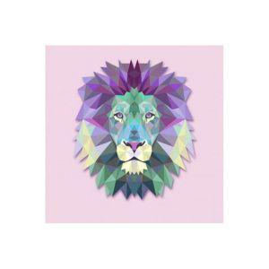 Tableau Animaux Lion Rose 60X60 SOLINE