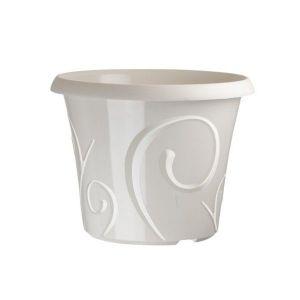 Pots de fleur 25 litres Volutes Blanc Perle + soucoupe