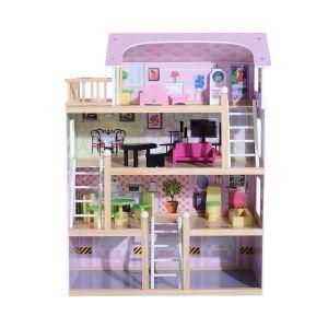 Maison de poupée en bois blanc et rose