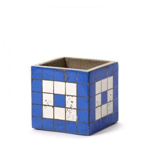 Pot Béton Cubique Marie Mosaïque Bleue 11 x 11 x 11 cm Serax