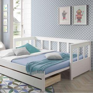 Lit extensible tiroir de lit blanc