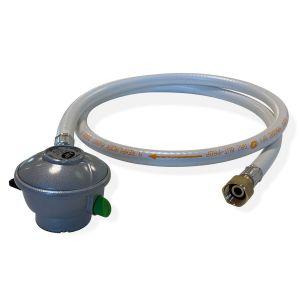 Kit Tuyau flexible de gaz 1,5 m à embouts mécaniques + Détendeur Quick-on Butane 28mbar 1,3kg/h, raccord rapide - Normes NF