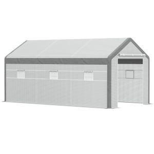 Serre de jardin tunnel surface sol 18 m² acier renforcé PE polyester blanc gris