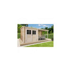 Solid Abri de jardin Cam?lia toit plat avec auvent 4.60m? 28mm P88915