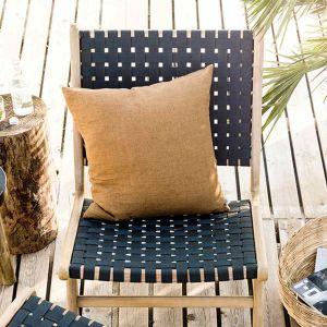 Fauteuil bas de jardin en acacia finition teck clair et polyester Frame