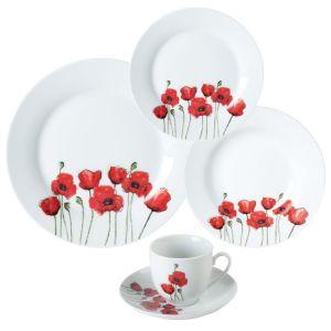 Service 30 pièces porcelaine poppy rouge