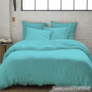 Taie d'oreiller volant et bourdon noir en lin lavé uni turquoise - Lin Aqua