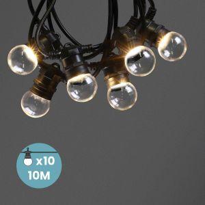 Guirlande Guinguette Transparente Ampoules Remplaçables 10 m