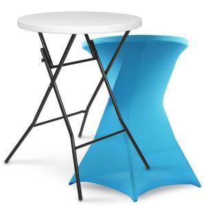 Table haute pliante et housse bleue