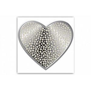 Tableau Romantique Coeur Argenté et Strass 80X80 cm ELIE