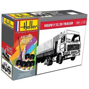 Maquette camion : Kit : Volvo F12-20 Globe Trotter & Twin-Axle Semi trailer