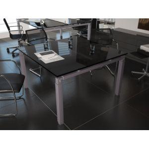 Table de réunion carrée en verre design