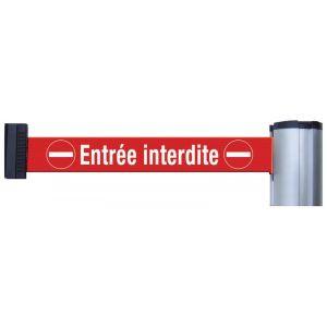 Poteaux de guidage ou sangles murales avec signalisation et message - Entrée interdite