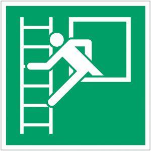 """Panneaux ISO 7010 d'évacuation carrés """"Fenêtre de secours avec échelle de secours"""" - E016"""