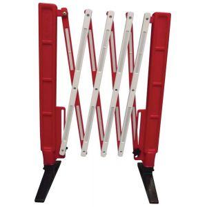 Barrière extensible pliable rouge et blanche de 2m