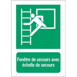 Panneau EN ISO 7010:2012 en aluminium avec message - Fenêtre de secours avec échelle de secours - E016