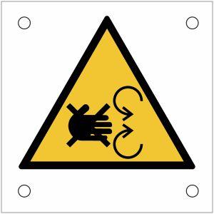 """Plaques de signalisation pour machines """"Risque d'écrasement de la main par le mécanisme en mouvement"""""""