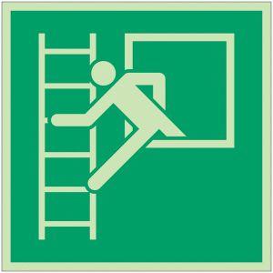 """Autocollants et panneaux photoluminescents NF ISO 7010 """"Fenêtre de secours avec échelle de secours"""" - E016"""