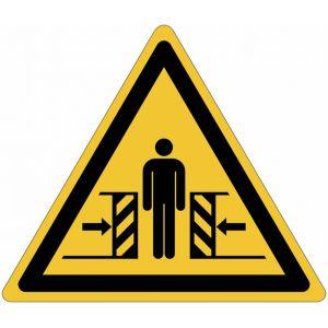 """Autocollant ToughWash® détectable avec pictogramme ISO 7010 """"Danger: Ecrasement"""" - W019"""