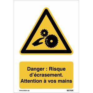 Panneaux A3/A4/A5 - Danger : Risque d'écrasement. Attention à vos mains