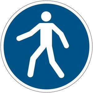 """Autocollant ToughWash® avec pictogramme ISO 7010 """"Piétons, utilisez le passage"""" - M024"""