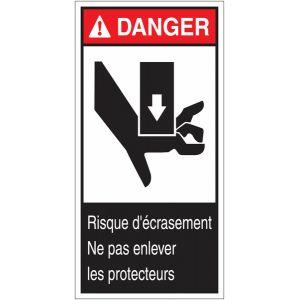 """Etiquettes ANSI Z535 """" Danger - Risque d'écrasement de la main"""""""