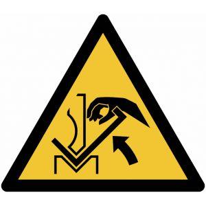 """Autocollant ToughWash® avec pictogramme ISO 7010 """"Danger: Ecrasement de la main entre une presse plieuse et le matériau"""" - W031"""